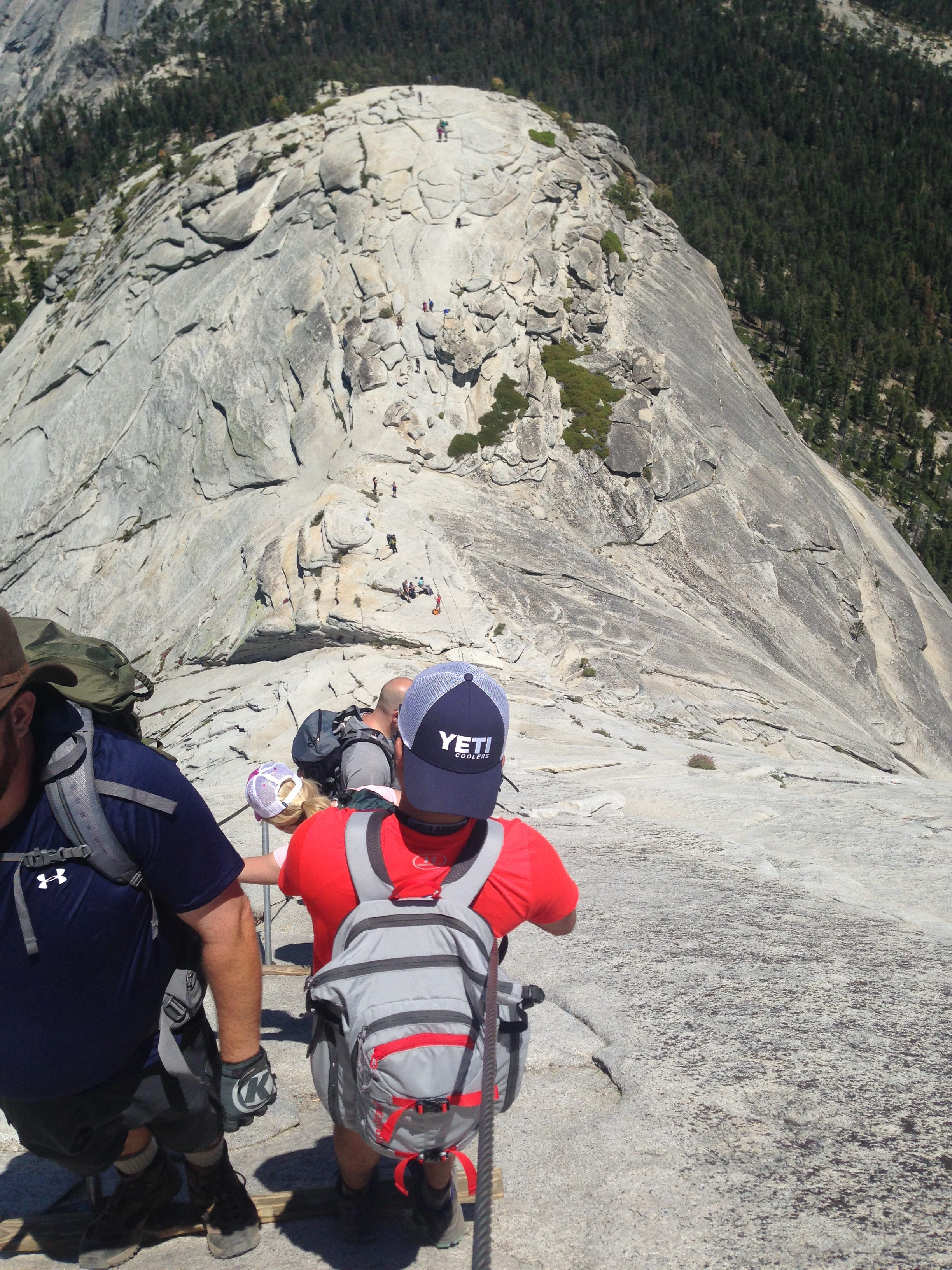 hiking down half Dome